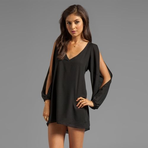 Fashion Women Chiffon Dress Candy Color Deep V-Neck Split Sleeves Irregular  Hem Casual Loose Mini Dress Black b34194d31