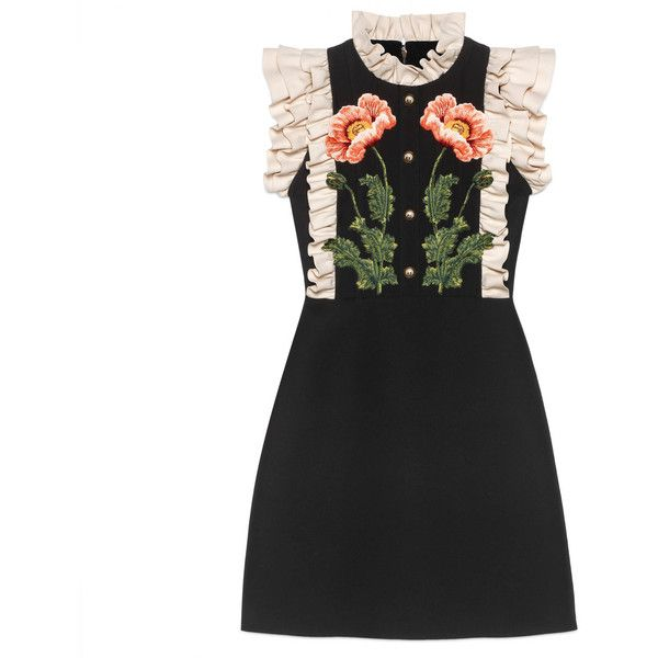 Gucci Floral Embroidered Wool Silk Dress ( 3 5613a6e90