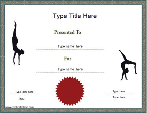 Sports Certificate - Gymnastics Achievement Certificate Template - gift card templates free