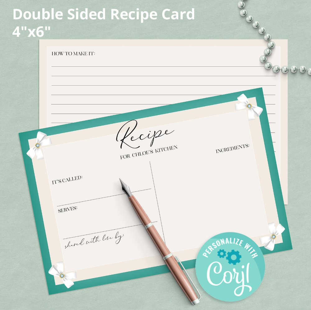 Breakfast At Tiffanys Printable Recipe Card Template Etsy Recipe Cards Template Bridal Shower Recipes Cards Printable Recipe Cards