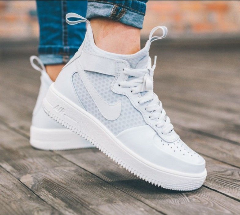 Nike Womens Air Force 1 Ultraforce Mid Athletic Snickers Shoes White Size 10 5 Nike Shoes Air Force Snicker Shoes Nike Shoes Women