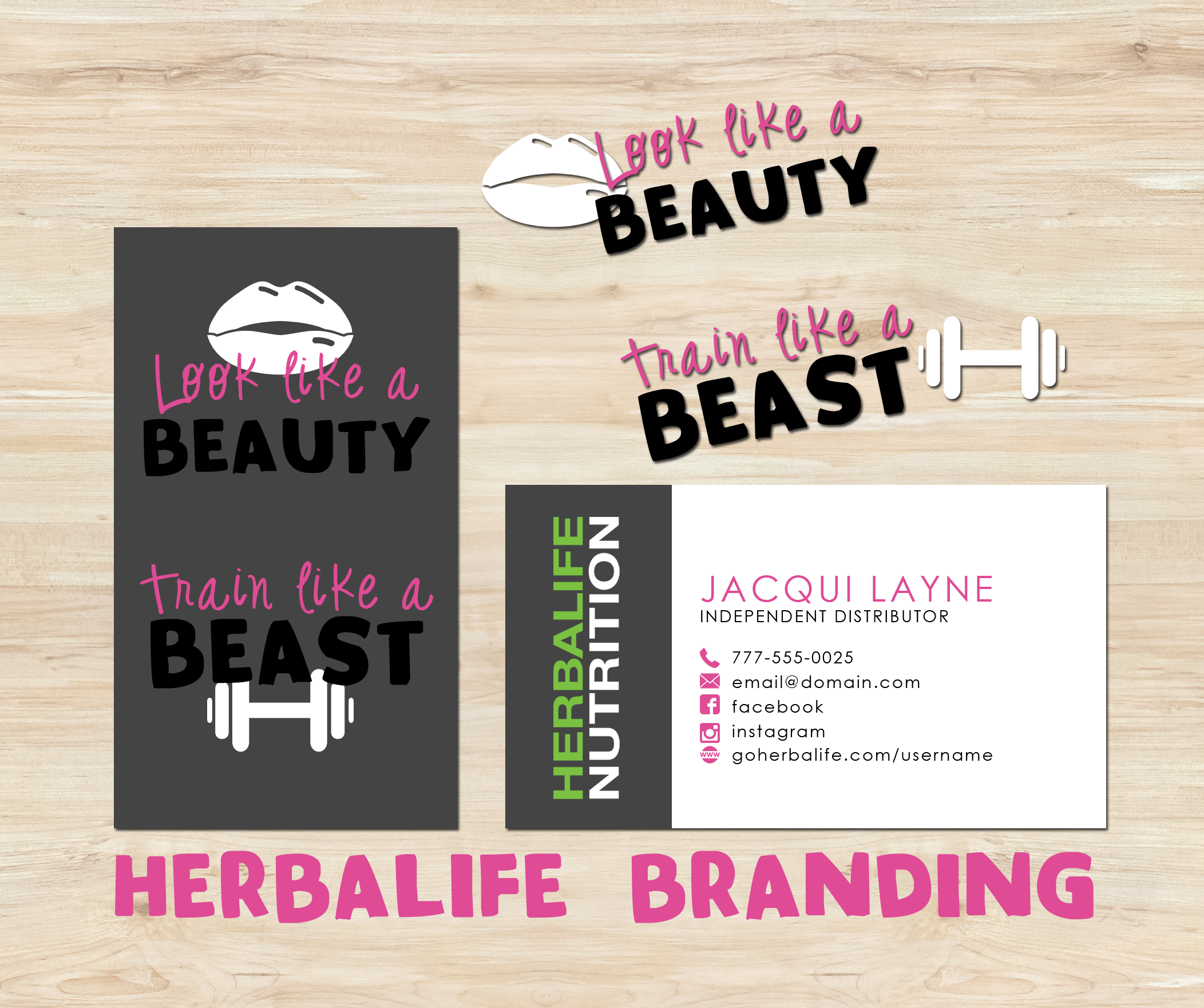 Herbalife Business Card Digital Template Look Like A Beauty Train