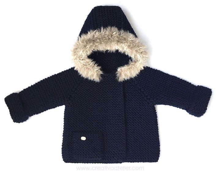 Abrigo de punto de bebé – DIY | Pinterest | Patrón gratis, Capucha y ...