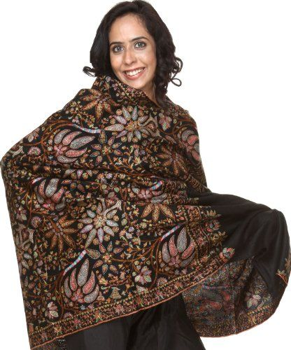 8bf9396c3a Black Pure Pashmina Shawl with Deft Multi-Color Kashmiri Embroidery by Hand  - 100% Pure Pashmina Woo
