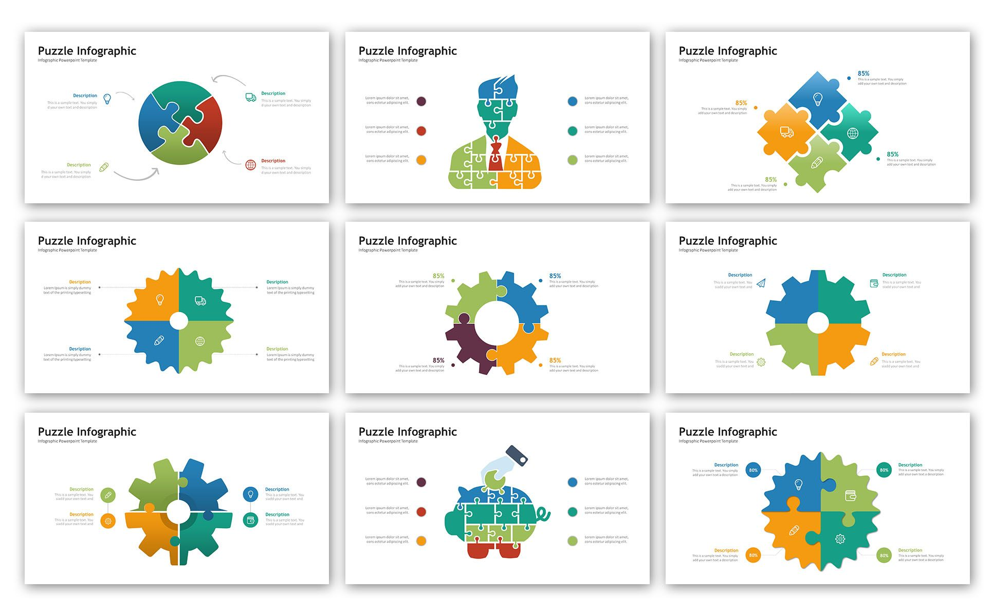 Puzzle Presentation Infographic Powerpoint Template Kids Fashion