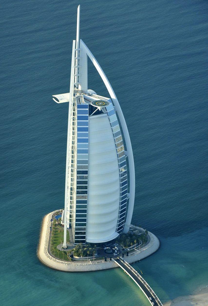 Burj AlArab Hotel aerial view in Dubai, United... in 2020