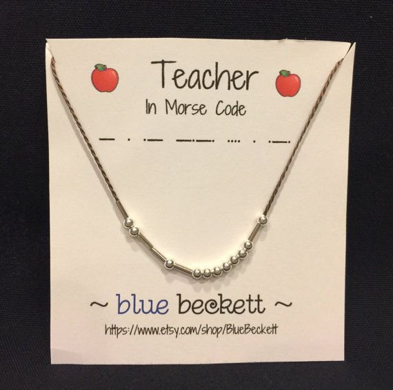 Morse Code 'Teacher' Necklace.  Sterling silver beads, 100% silk cord.  Personalization available. #bluebeckett #necklace #love #teacher #morsecode #morsecodenecklace