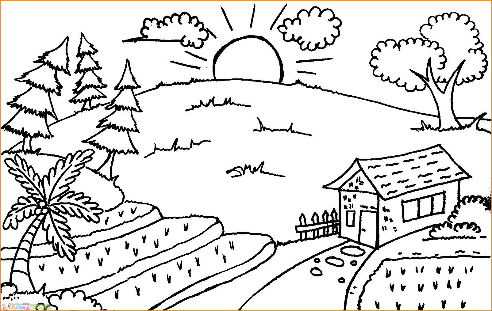 Gambar Sketsa Pemandangan Gunung Dan Rumah