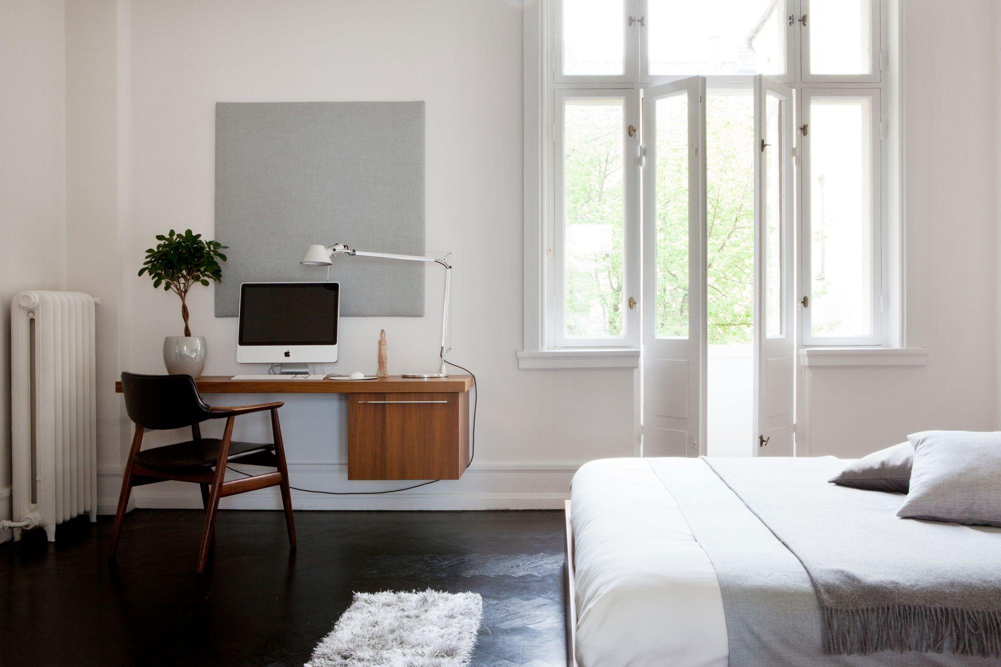 Blanc noir gris bois bureau calm bedroom teak