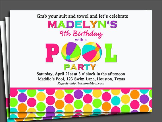 Pool Party Invitation Printable or Printed with FREE SHIPPING - birthday invitation swimming party