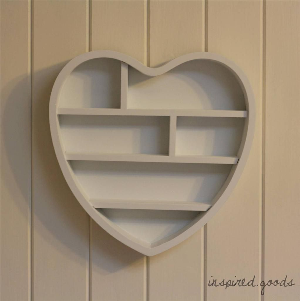 competitive price 3ebbf 51ef8 Wooden Heart Shaped Wall Shelf Shabby Chic Storage Display ...