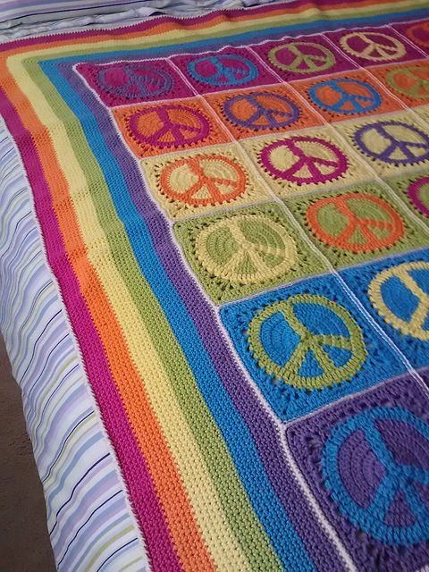 Peace Sign Granny Square Blanket Pattern Copied To Text File With