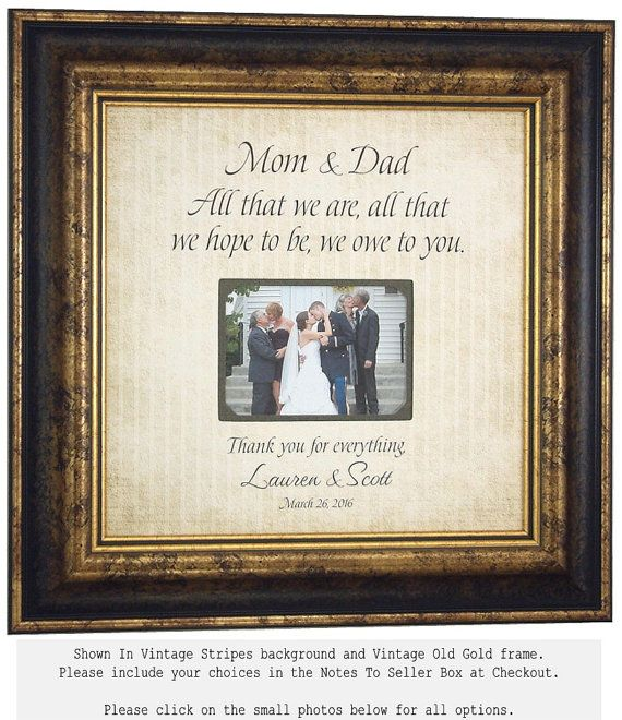 Photo Frame Personalized Wedding Gift For Parents Bride Groom Grandparents Mom Dad Father Mother Mat 16x16