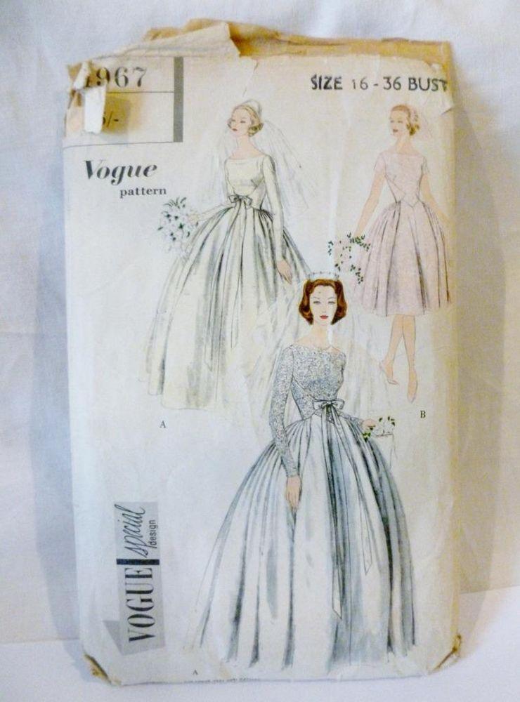 1950s Vintage Vogue Special Design Original Wedding Dress Pattern