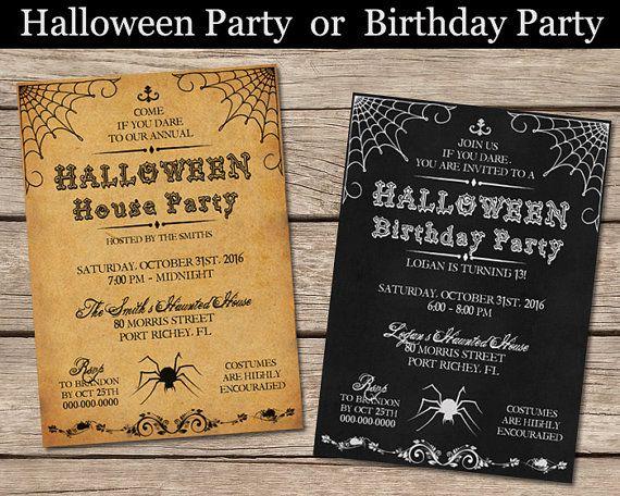 Halloween Party Or Birthday Invitation Vintage Spider Adult