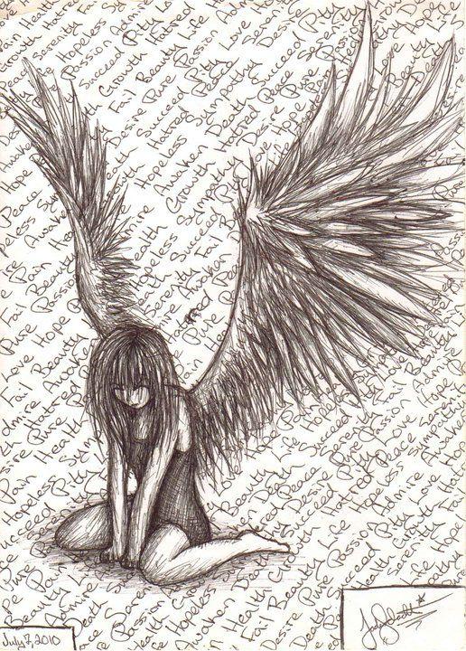 Fallen Angel By Syettaj On Deviantart Art Drawings Angel Drawing