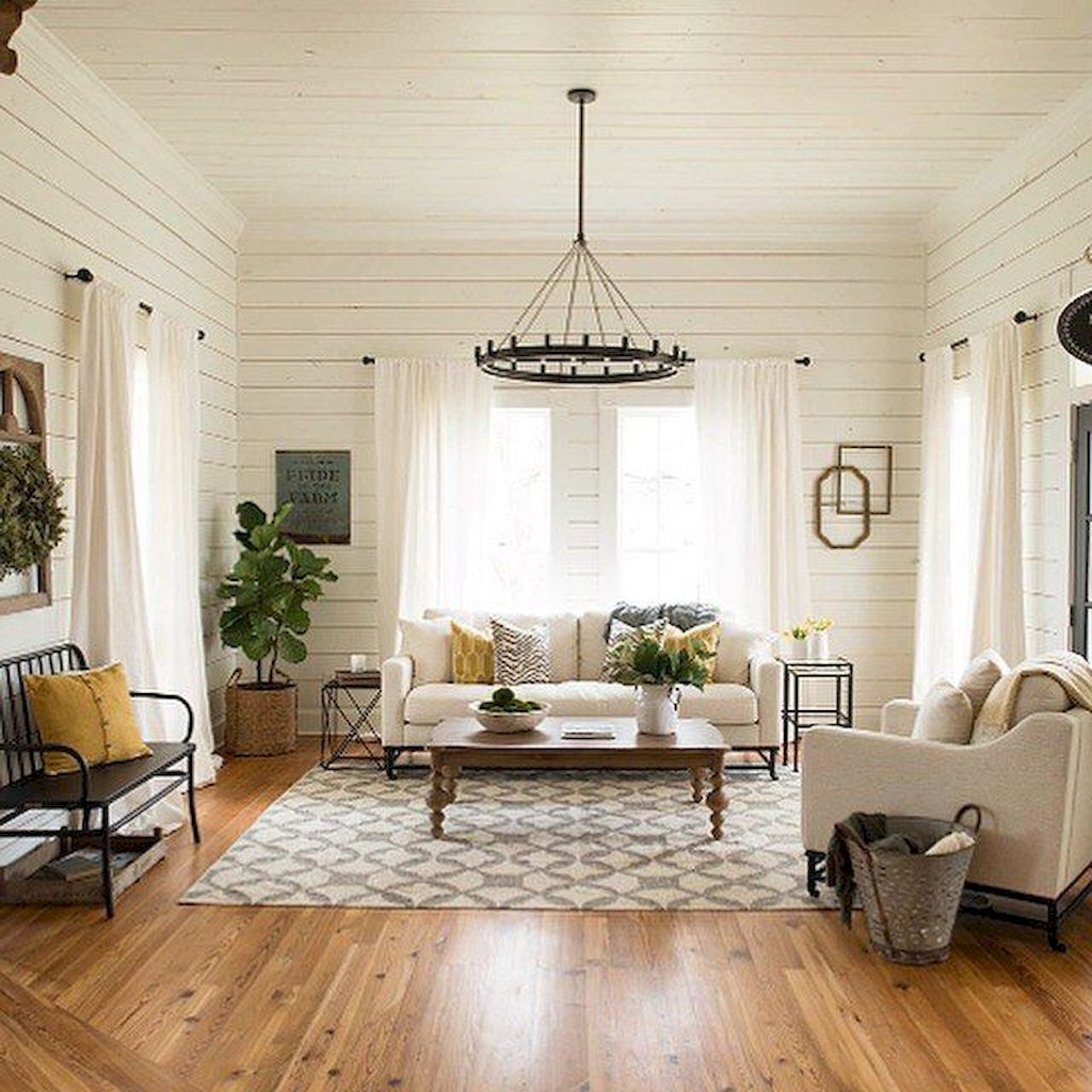 60 Rustic Farmhouse Living Room Design and Decor Ideas | Farmhouse ...