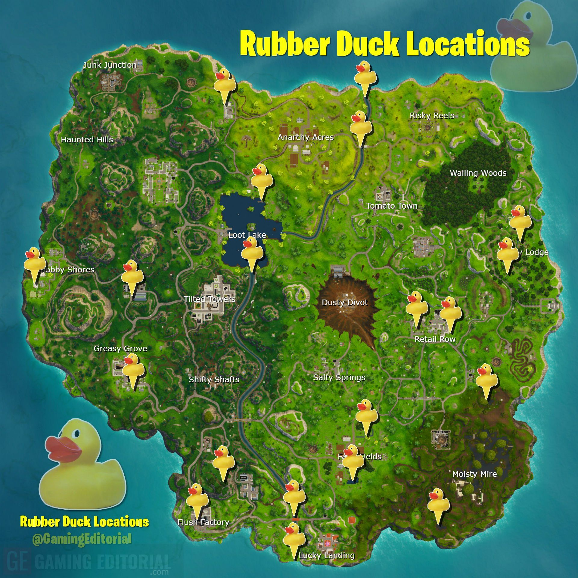 Spoiler Map All Rubber Ducky Locations For Week 3 Fortnite Battle Royale Fortnite Rubber Ducky Ducky