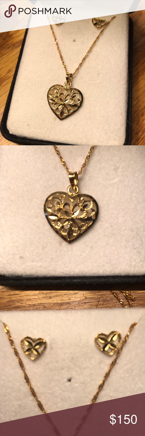 Nwot k gold heart necklace and earrings my posh picks pinterest