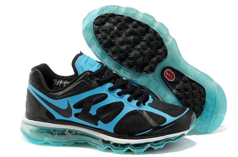 Nike Air Max 2012 Femme Chaussures De Course Noir/Bleu Spark
