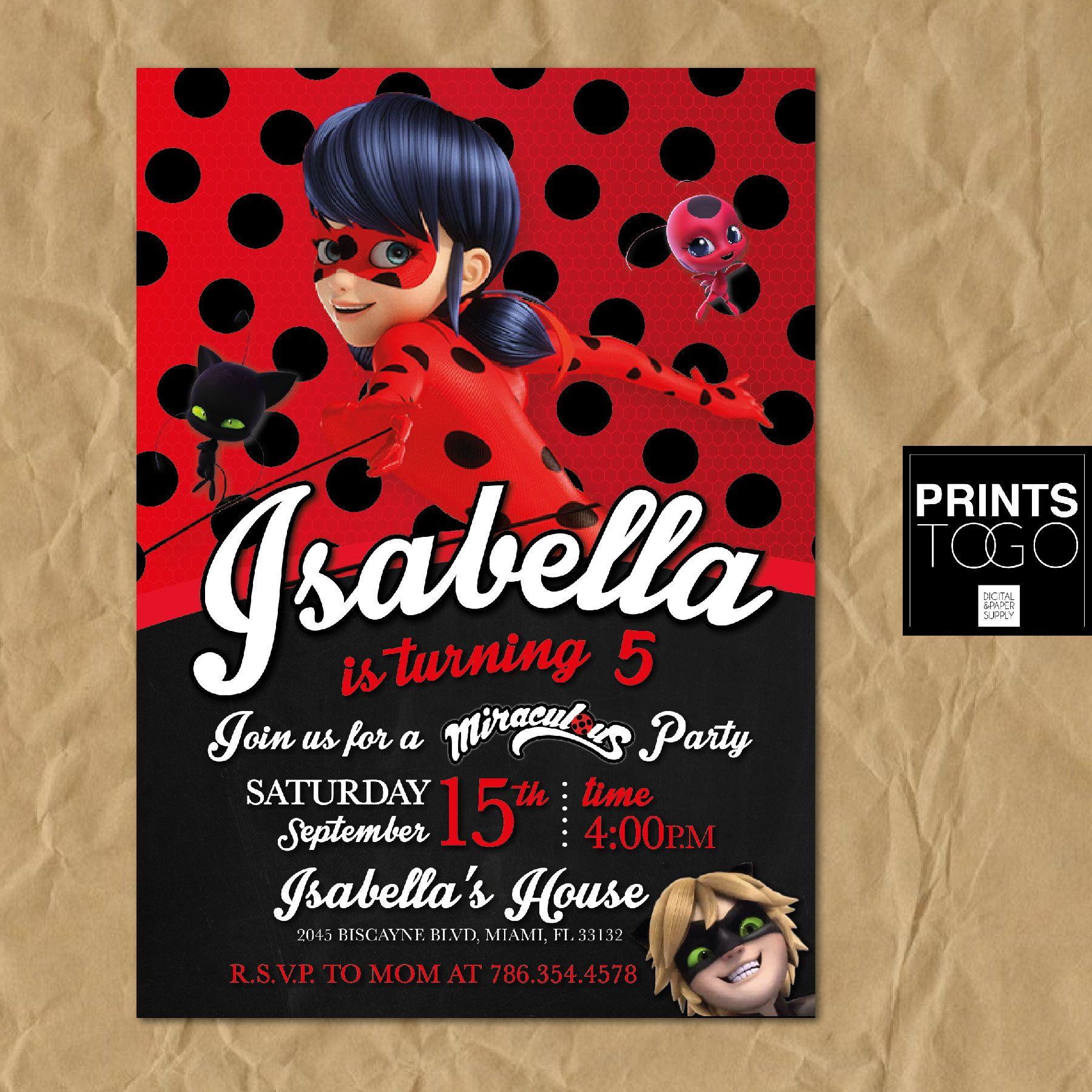 Miraculous Ladybug Invitation, Digital Printable Invite ...