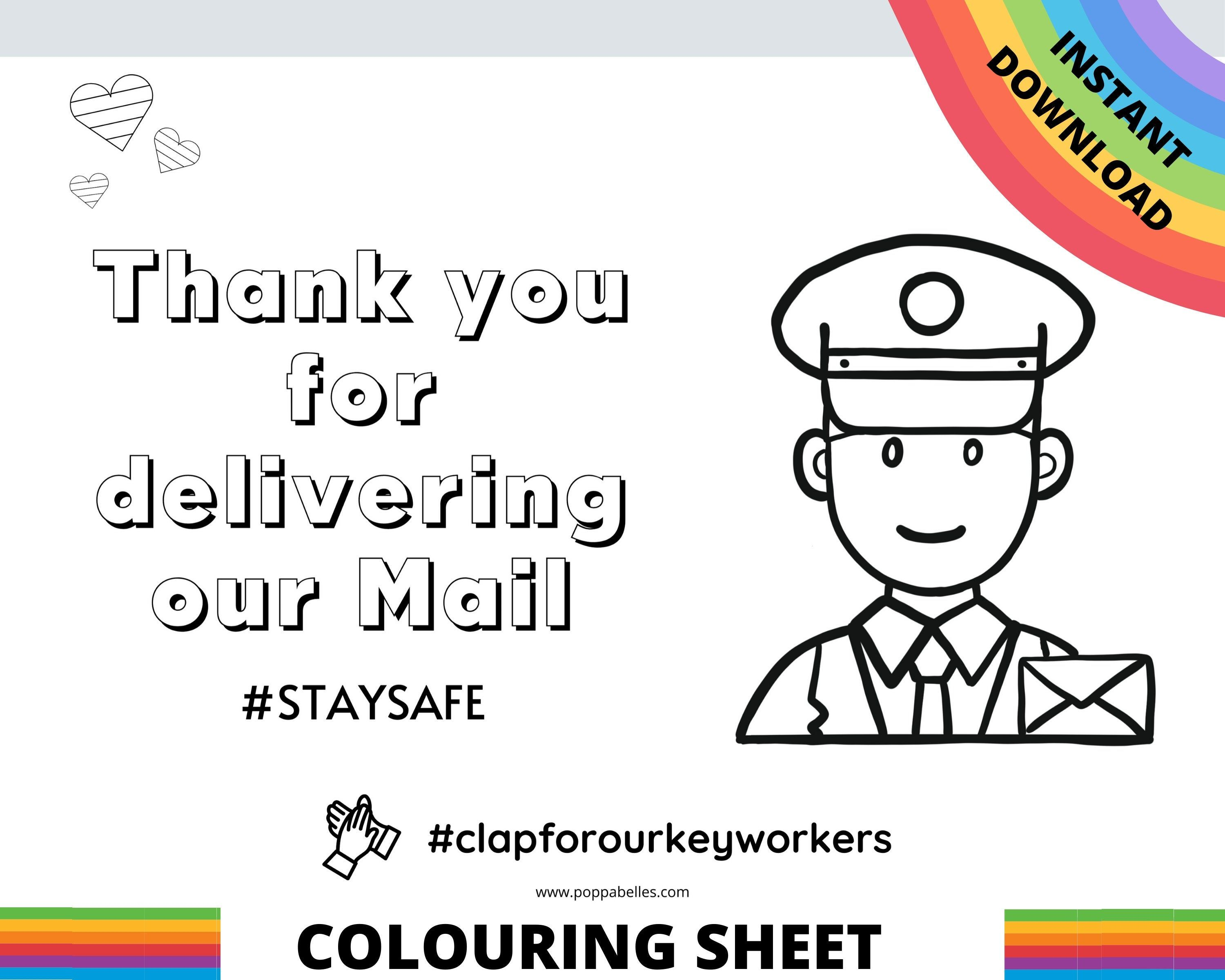 Thank You Postie A4 Colouring Sheet To Create Positivity And Display In Window Instant Download Cla Coloring Sheets For Kids Coloring Sheets Thank You Poster