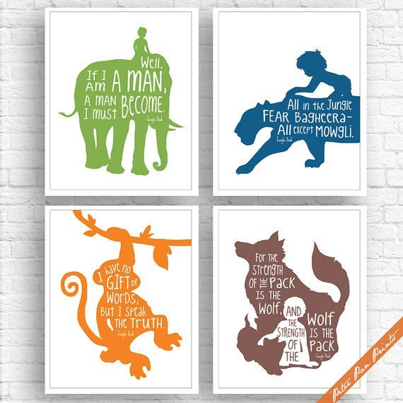 Jungle Book Quotes Best Jungle Book Inspired Series B Set Of 4 Artpeterpanprints