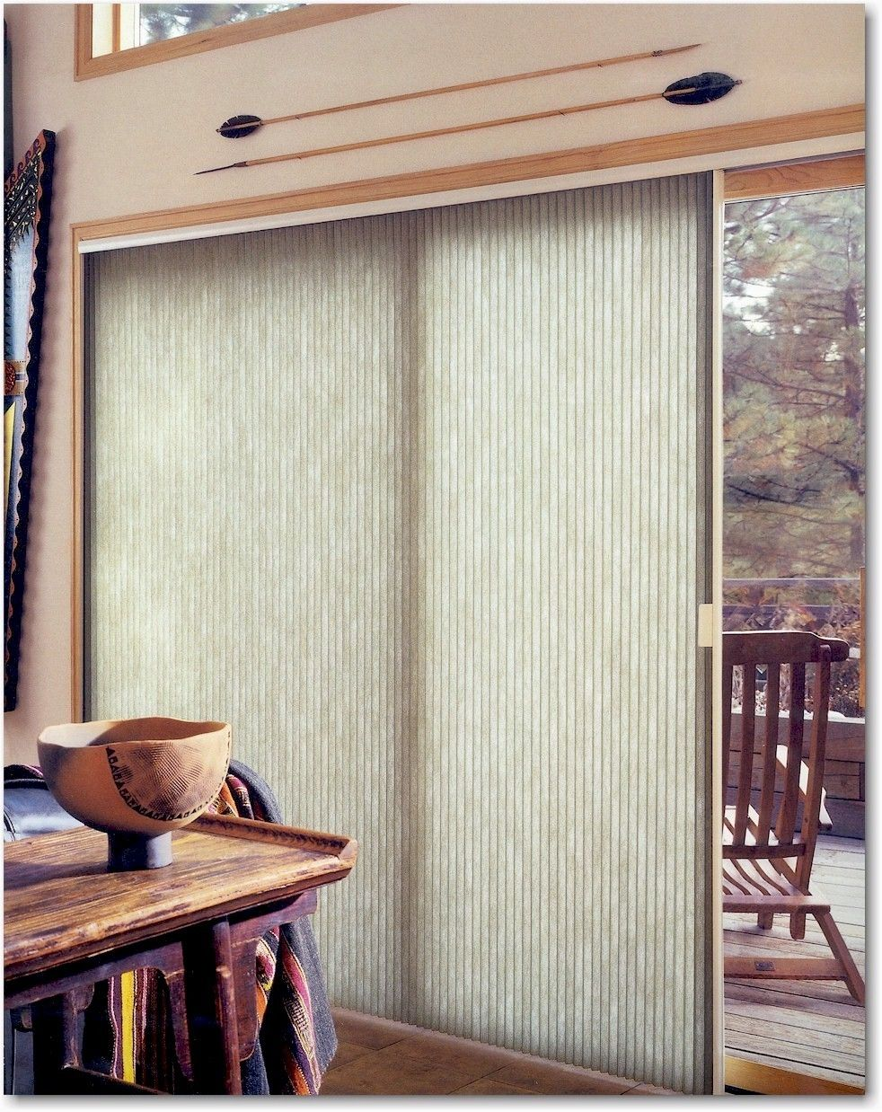 Vertical honeycomb shades for sliding glass doors