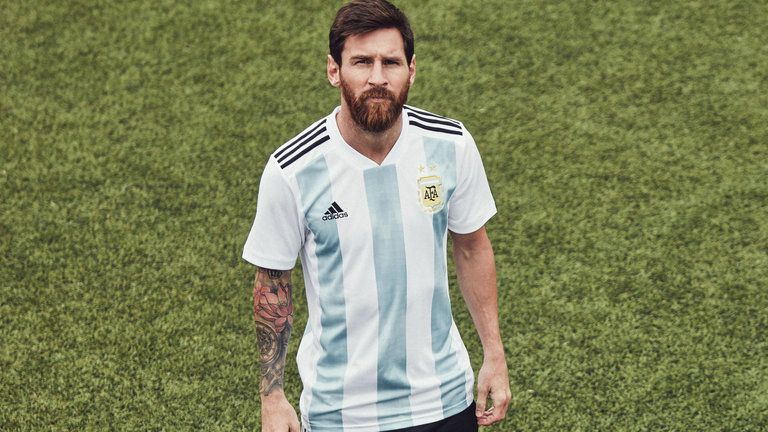 bbfba716534 Lionel Messi wears Argentina s World Cup home shirt FIFA 18 World Cup 2018  Kits  worldcup