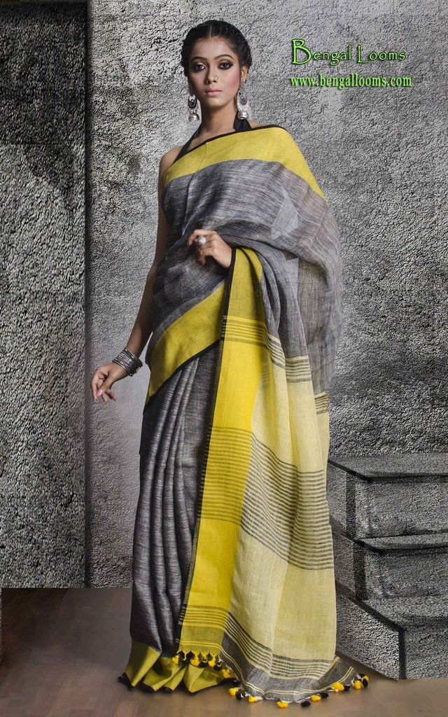 9c807b3218b8c Linen Saree in Grey and Yellow