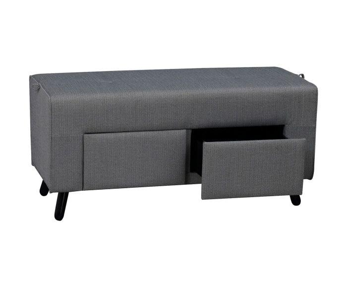 Panca Imbottita Dalani : Panca con 2 cassetti mint grigio a home livingroom pouff e