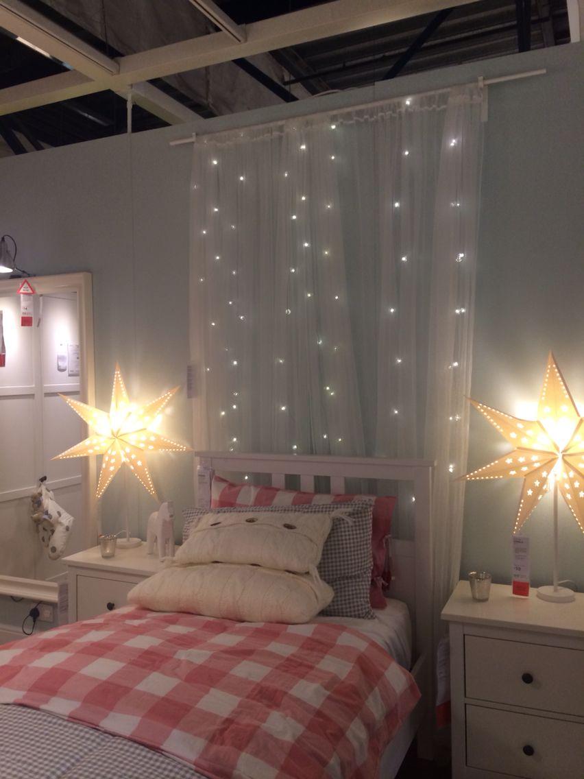 Fairy lights behind bed - ikea  Fairy lights bedroom, Home decor
