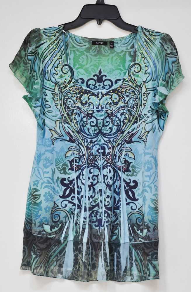 a4d5ab4f5cd Apt. 9 Women s Blouse Studded Front Elastic Green Blue Black Short Sleeve M  NWT  Apt9  Blouse  Casual