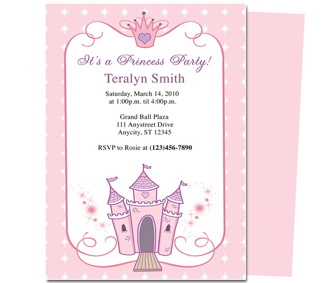 Kids Party Princess Kids Birthday Party Invitation Template - Party invitation template: princess party invitation template