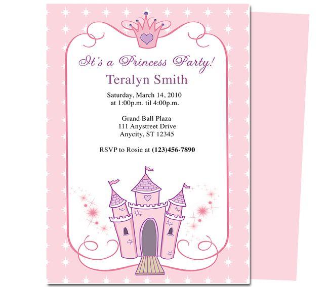 Kids Party  Princess Kids Birthday Party Invitation Template - invitation birthday template