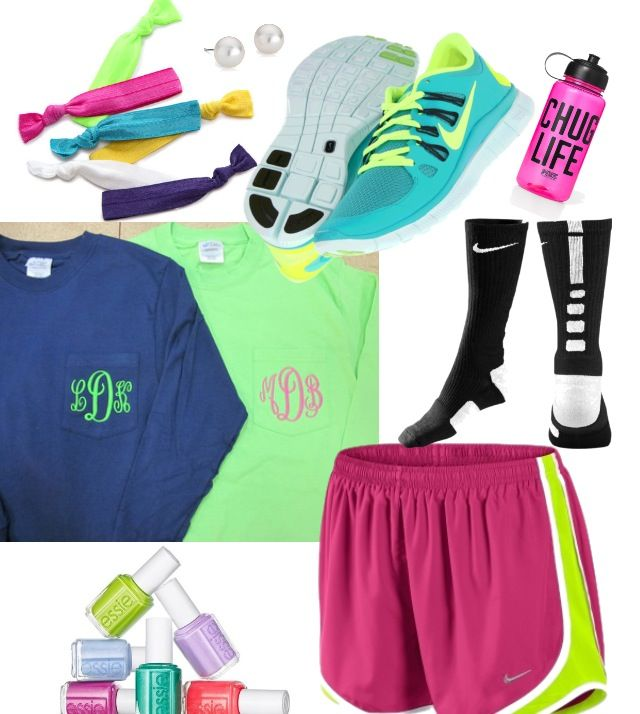 perfect lazy day outfit , monogramed tees, hair ties, Essie nail polish, nike shorts, nike free running shoes, nike elites!
