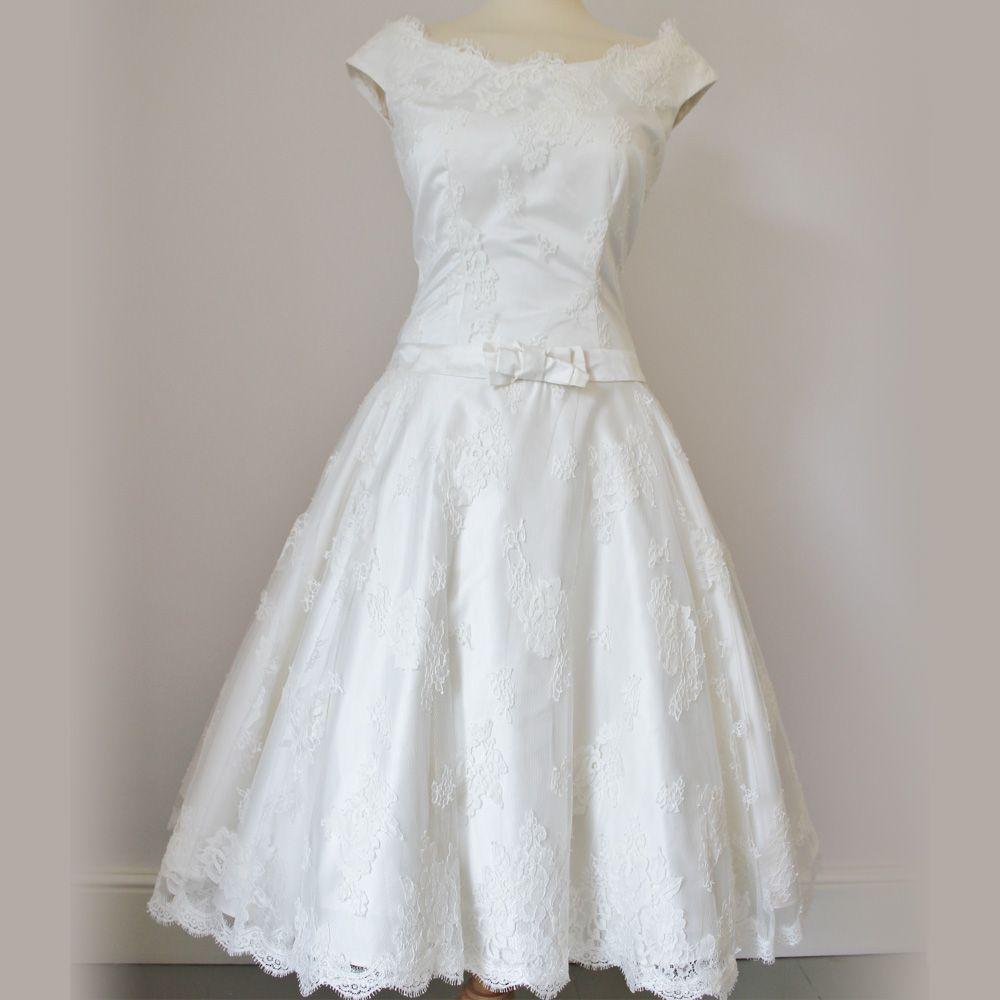 Eva by dana bolton 50s dropped waist boat neck cap sleeves audrey hepburn style wedding dress eva by dana bolton ombrellifo Image collections