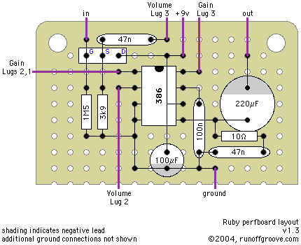 ruby 386 based battery amp circuit has volume and gain controls and DIY Tin Box Guitar Amp ruby 386 based battery amp circuit has volume and gain controls and can be tweaked to model other existing amp characteristics (e g fender bassman)