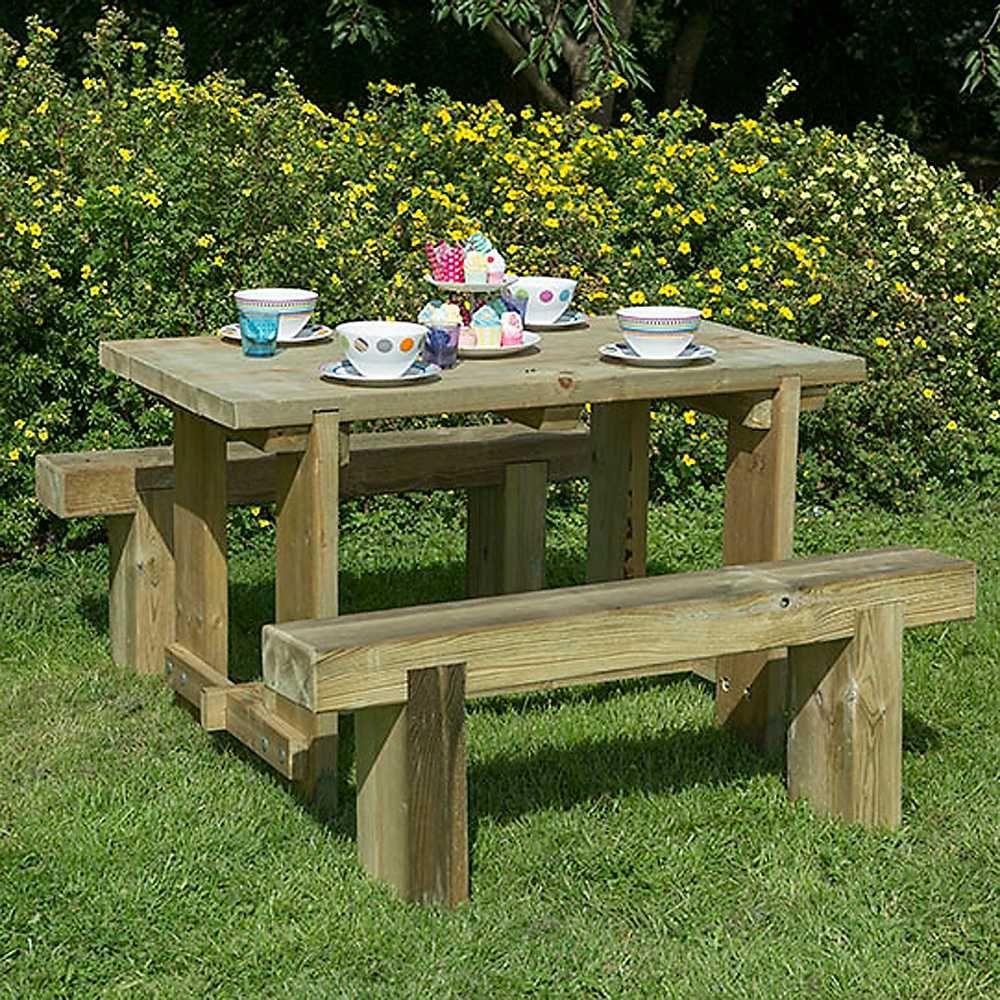 Forestrefectorytable Sleeperbenchset Wooden Garden Table Outdoor Garden Furniture Garden Furniture Sets