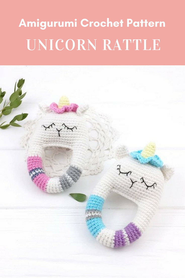 Unicorn Crochet Pattern, Rattle Crochet PDF, Unicorn Teether Toy ...