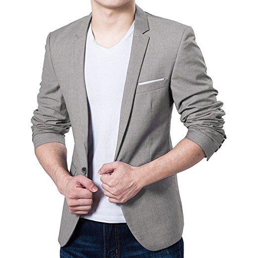 7546351e8036 Pishon Men s Blazer Jacket Lightweight Casual Slim Fit One Button Sport  Jackets at Amazon Men s Clothing store