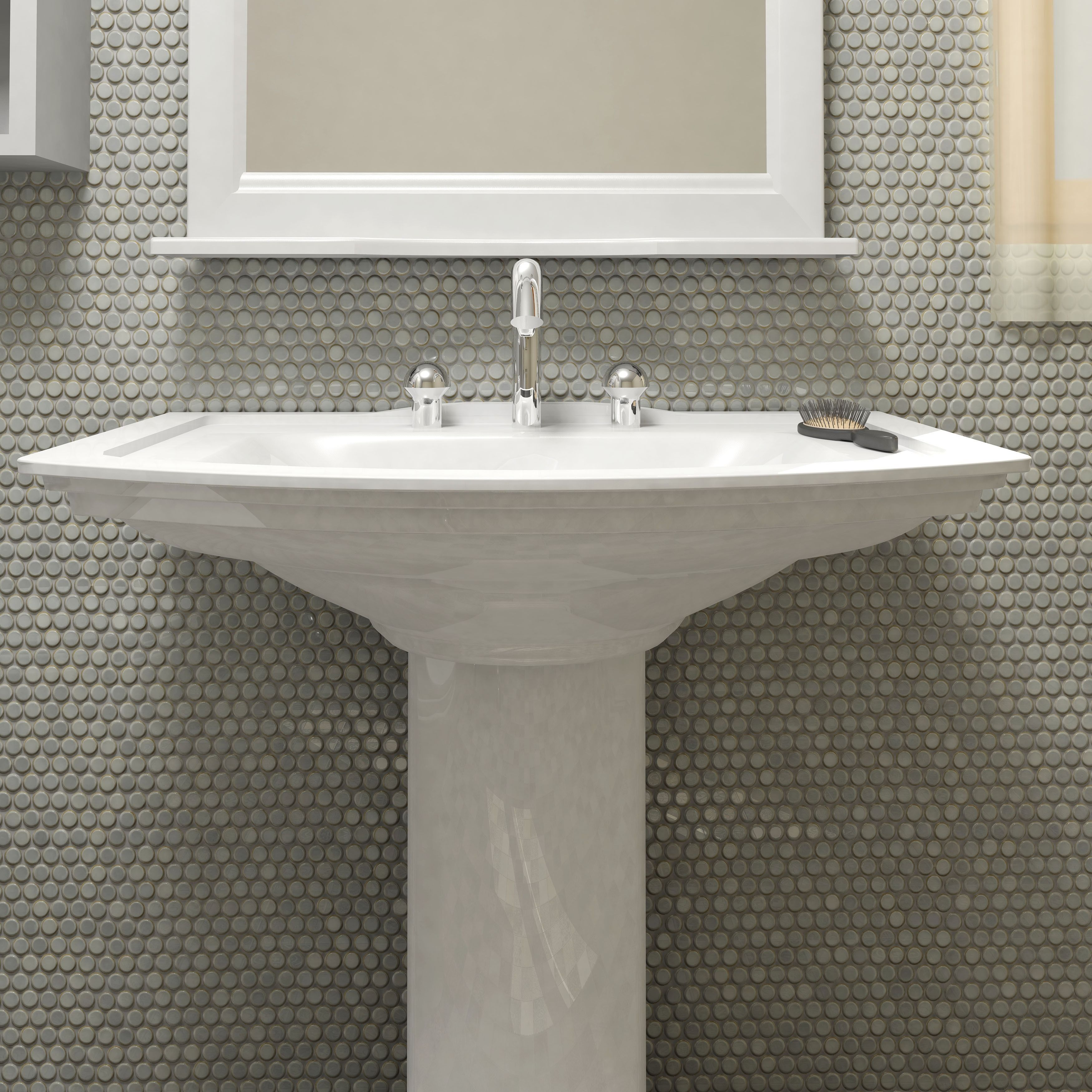 This somertile 12x1225 inch penny grey eye porcelain mosaic floor this somertile penny grey eye porcelain mosaic floor and wall tile offers a glazed in an eye drop effect taupe shades and a pleasing mixture of grey with dailygadgetfo Images