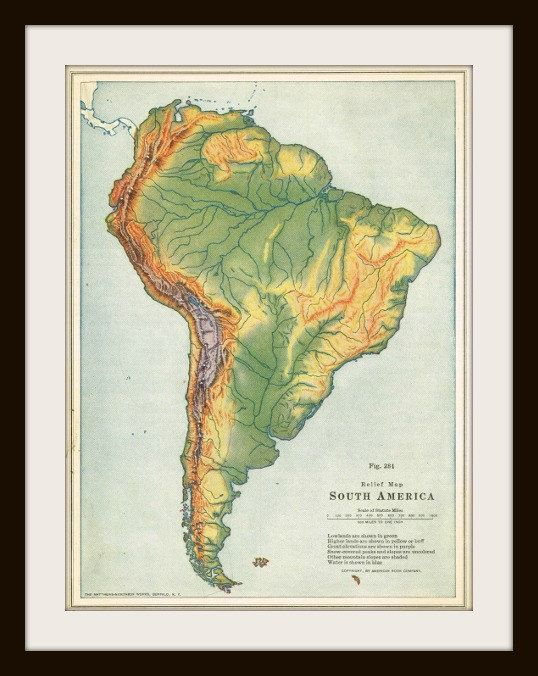 1925 SOUTH AMERICA Antique Map Buy 3 Maps Get 1 FREE by