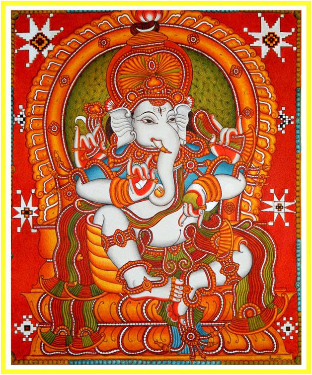 mural painting of lord ganesha gauri putra vighnaharta On mural art of ganesha