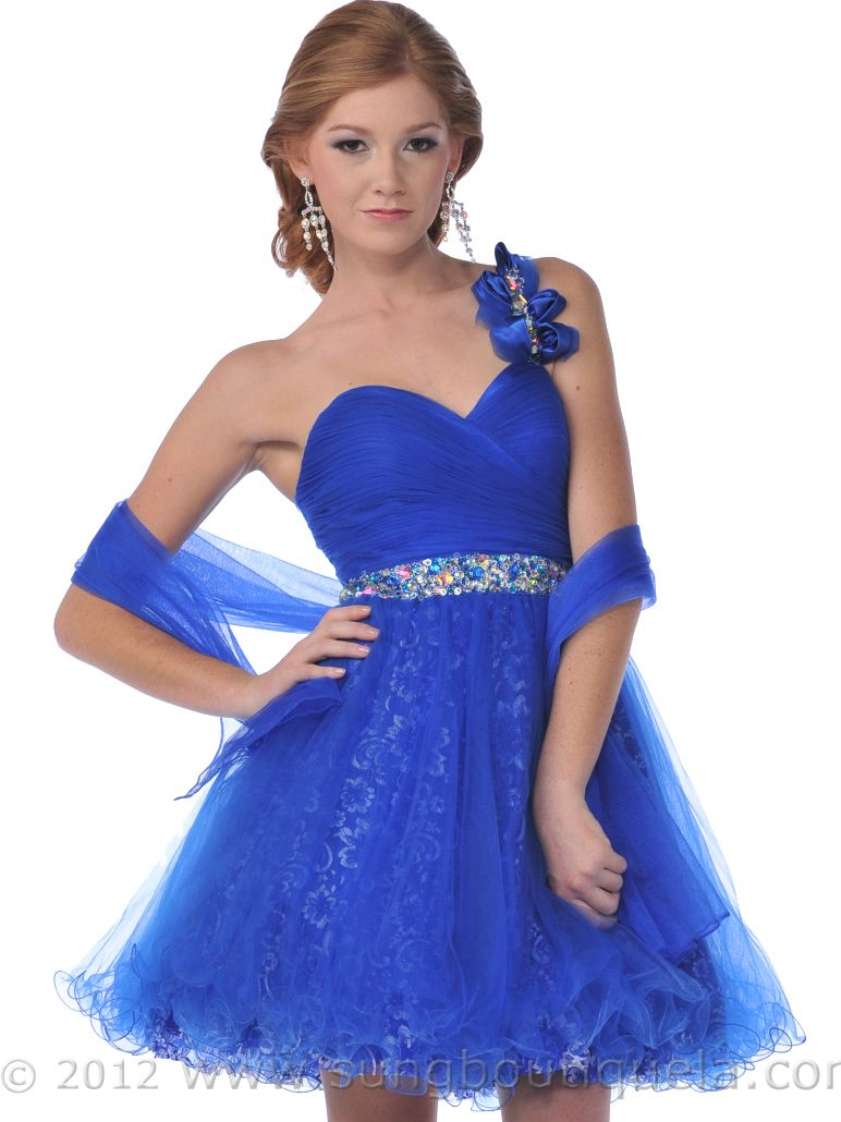one shoulder blue homecoming dresses