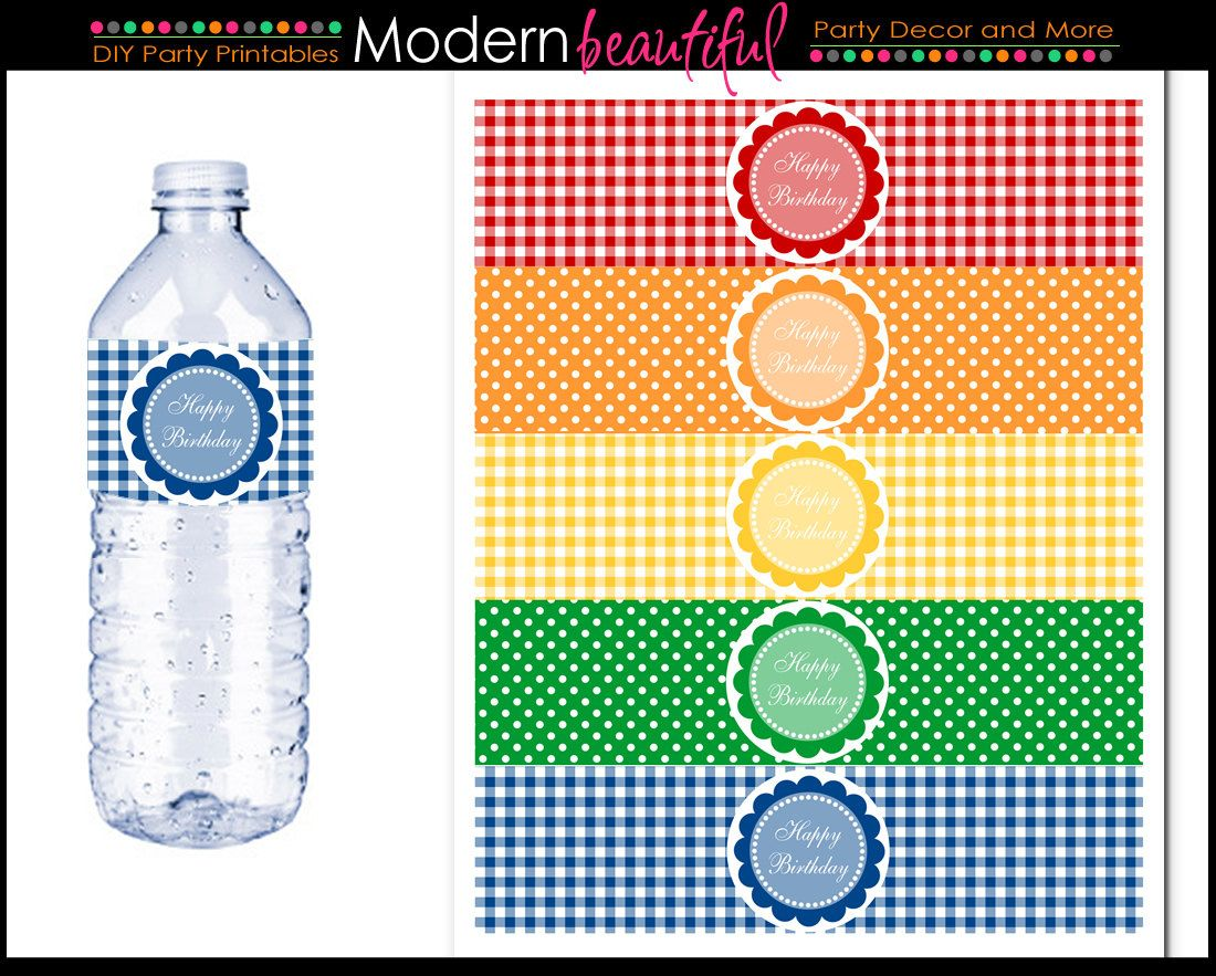 printable party water bottle labels rainbow gingham and polka dot 800 via etsy