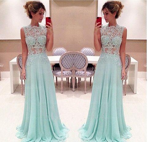Sexy Tiffany blue prom dress, lace prom dress, online prom dress, beautiful prom…