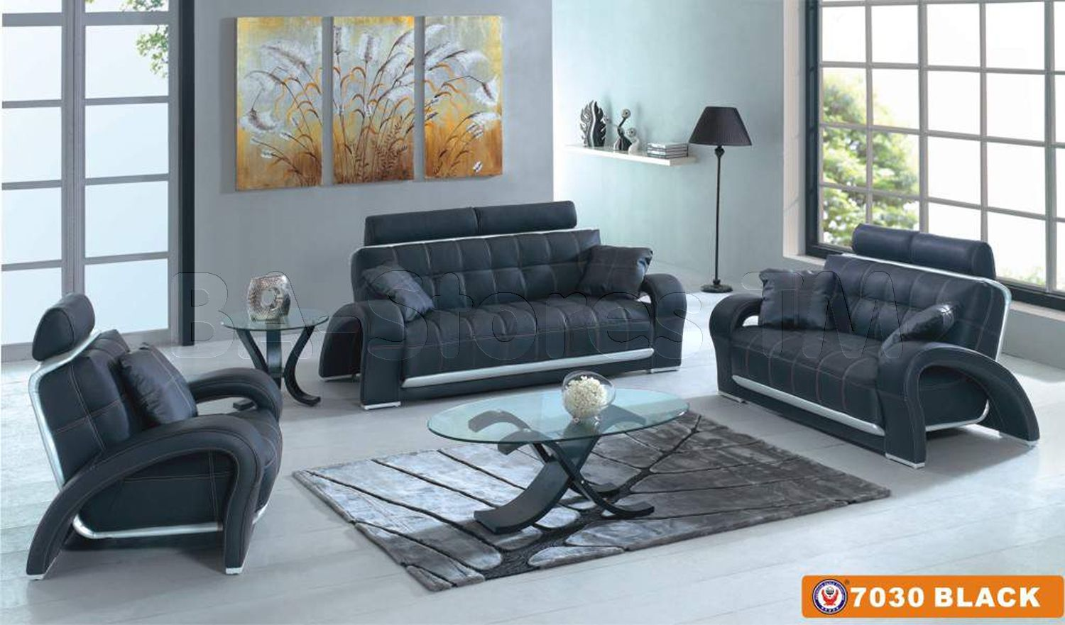 Black leather 3 pcs living room set sofa loveseat and armchair