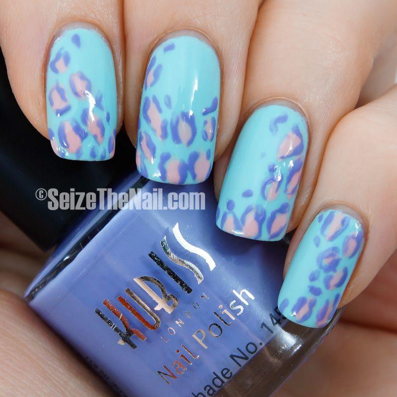 Minty blue pastel leopard | Seize The Nail