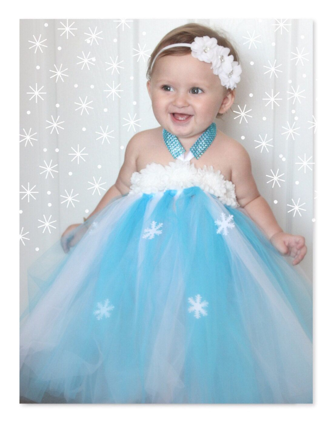 baby Elsa infant Frozen tutu dress with snowflake cape | Frozen ...